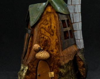 "Hand carved cottonwood bark ""rustic"" cottage"
