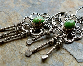 SALE! Green Stones in Sterling Silver Flowers/Wire Wrapped Silver Dangles/Free Spirit Earrings . Rustic Boho Tribal Southwest Style Jewelry