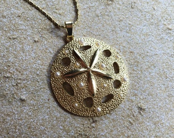 Metal Sand Dollar Pendant with Faux Pearls, Nautical, Ocean Pendant, Pendant, Sand Dollar, Gift Ideas, Beach, For Her, Trending Items