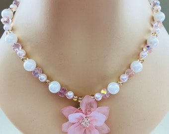 Spring Bridal Collection: Pink Flower & Pearl necklace