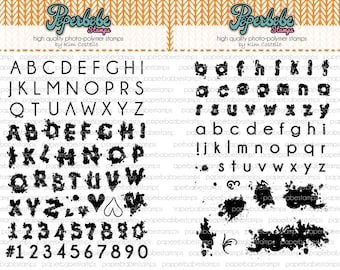 Watercolour Alphabet Stamp Set Bundle - Paperbabe Stamps - Clear Photopolymer Stamps - For paper crafting and scrapbooking.