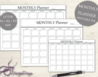 Planner Page MONTHLY, Monthly Planner, INSTANT Download, Printables Monthly, Digital Planner, Stuff to do list, Inserts A5