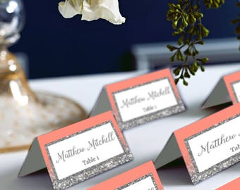 Coral and Silver Place Cards, Silver Glitter Wedding Place Cards, Avery 5302 DIY Place Card Printable, code-048