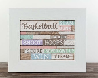 Basketball Ball Shoot Team Hoop Win Girl Decor Bedroom Picture Art 13x16