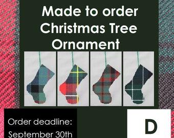 Mini tartan stocking, Tartan ornament, D Names, Dalziel, Davidson, Douglas, Drummond, Drummond of Strathallan, Dunbar, Duncan, Dundee