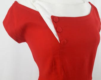 1960's Two-toned Red & White Dress