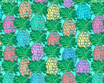 Judith's Fancy by Jennifer Paganelli, Pineapples in Teal, Free Spirit, Pineapple Fabric, Hawaiian Fabric, Tropical Fabric, Bright Colors