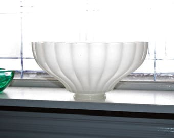 Antique Lamp Shade White Opaque Milk Glass Ribbed Large Torchiere