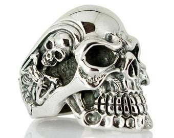 Gigantic Sterling Silver Skull Ring, Mens Silver Ring, Skeleton Ring, Biker Ring