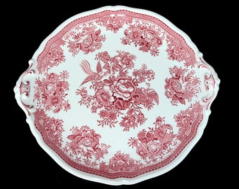 Vintage Large Serving Plate, Red and White Porcelain, VILLEROY & BOCH, Pheasant Theme