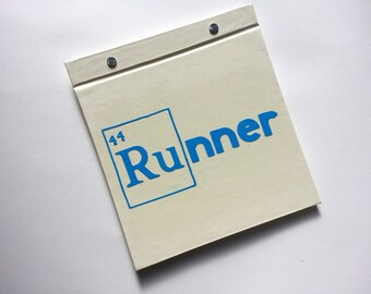 Race Bib Book - Periodic Table RU 44 for Runner - Gift for Runner Geekery - Race Bib Book Hand-bound for Runners Off white and Light Blue