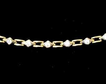 Women's vintage necklace golden colored chain with white rhinestones