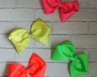 """Girls 8"""" inch neon boutique hair bow like JoJo siwa bows signature keeper dance moms with or without diamante"""