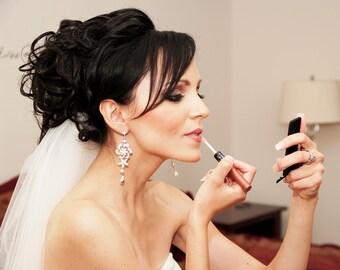 Chandelier Earrings Floral Wedding Earrings Dramatic Bridal Earrings Long Wedding Earrings White Pearl Vintage Wedding Jewelry SABINE GRAND