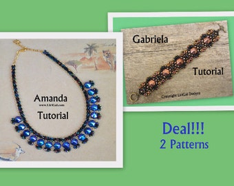 2 patterns deal.Amanda and Gabriela SuperDuo and Pyramid beads Beadwork Necklace and Bracelet PDF Tutorial