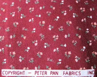 Cranberry Red Calico 1.5 yds by Peter Pan Fabrics Inc