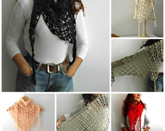long fringes triangle crochet lace shawl in several colors,  crochet scarf in cotton viscose, kerchief scarf, baktus scarf