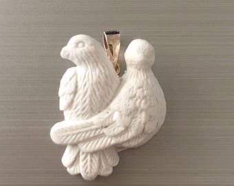 Beautiful White Pair of Doves Pendant with Sterling Silver Bail Christmas Present Gift