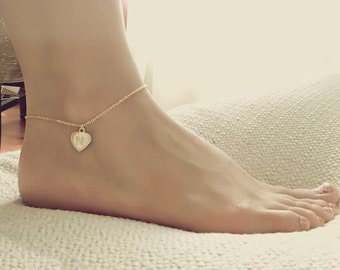 Gold Heart Anklet Rose Gold Anklet Foot Jewelry Charm Anklet Silver Anklet Gift For Women Bridesmaid Gift - DCHA