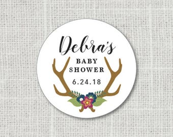 Baby Shower Stickers, Floral Baby Party Stickers, Deer Antler Baby Shower Stickers For Favors, Baby Party Labels