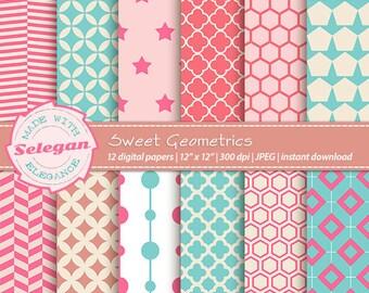 "geometric art ""Sweet Geometrics"" digital scrapbook paper 12inch printable pattern quatrefoil hexagon background honeycomb star"