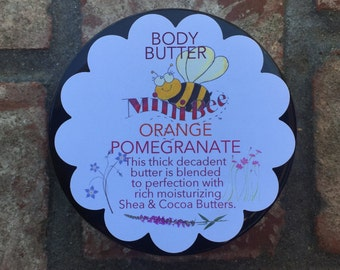 ORANGE POMEGRANATE Body Butter, Shea Butter, Cocoa Butter, Luscious Butter, Natural Butter, Hydrate your skin!!