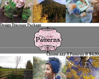 Discount Crochet Pattern Package. Choose any 3 patterns at 4.50