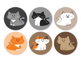 Cat Stickers, Cat Envelope Seals, Cat Labels, Cat Favor Stickers, Planner Stickers, 60 stickers, round labels, circle stickers, Cats, Kitty