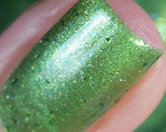 I Don't Dance Nail Polish - bright green jelly flakie finish