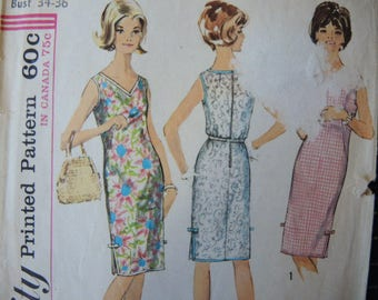 vintage 1960s Simplicity sewing pattern 5504 misses sleeveless shift dress size 14-16