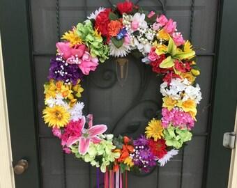 Spring Door Wreath, Summer Door Wreath, Elegant Wreath, Floral Wreath for Wall or Door, Front Door Floral Wreath, Door Wreath, Floral Wreath