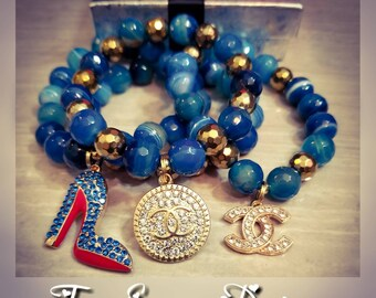 Gold Hematite & Turquoise Agate Bracelet Set