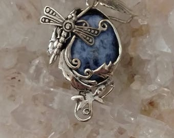 Sodalite Dragonfly Pendant Necklace