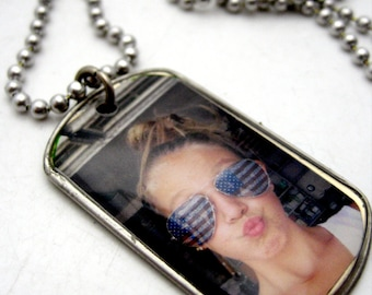 Custom MINI photo dog tag full photo charm pendant necklace or keychain Great Father's Day Gift dogtag keyring military charm key ring chain