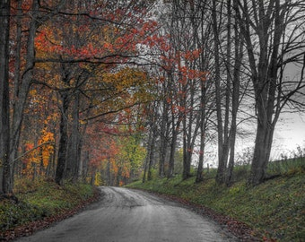Amish Country Photo, HDR photograph, Selective color, red, green, yellow, orange fine photography prints, A Colorful Bend