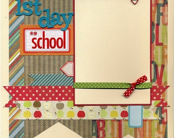 12x12 Premade Scrapbook Page - 1st Day of School