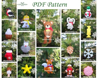 21 Christmas tree toys Felt ornaments Christmas decor ornament Sewing PDF Pattern Baby Sewing Pattern Felt Toy Soft Toy PDF Felt Pattern