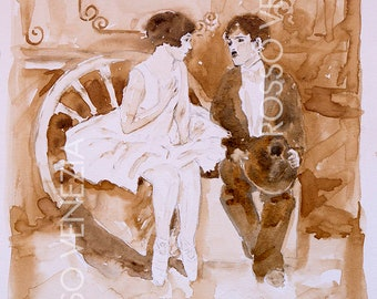 Original Watercolor / Homage to Charlie Chaplin / Collection art / RossoVenezia