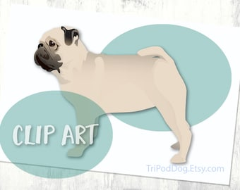Pug Basic Breed Silhouette Clip Art