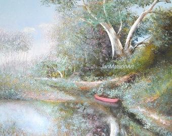 Landscape painting, canvas art, impressionist landscape art, gum trees, painting of trees, red canoe, creek, oil painting, Jan Matson