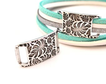 1 connector bead busy tropical foliage silver 10mm flat cord