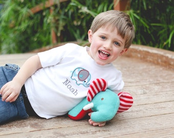 Boys Birthday Shirt - First Birthday Shirt - Elephant Birthday Shirt - Blue Chevron Shirt