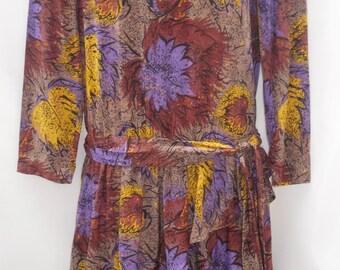 Autumn Leaf Print Vintage Drop Waist Dress 80's 90's