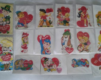 Lot of 16 different vintage childrens Valentine's Day cards