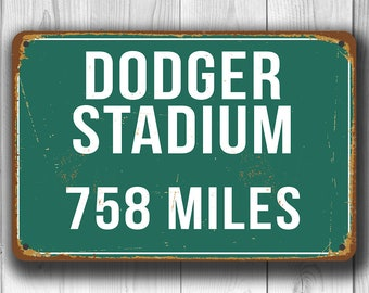 PERSONALIZED DODGER STADIUM Distance Sign, Dodger Stadium Sign, Dodger Stadium Miles, Personalized Dodgers Gift, Los Angeles Dodgers