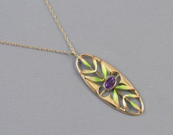 Antique Edwardian 14k gold enamel purple amethyst pendant necklace