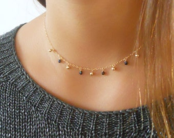 Delicate Gold Filled Necklace, Gold Charms Necklace, Gold Choker Necklace, Layered Gold Necklace, Gold Collar Necklace, #201