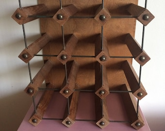 Mid Century Wood and Metal Wine Rack
