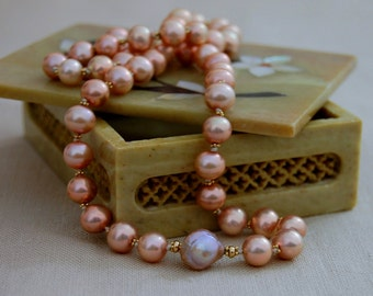Greta - Brilliant OOAK pearl necklace, hand knotted necklace, pearl jewelry, unique necklace, gift for her, anniversary, gift idea, jewelry