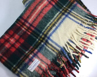 Gimbels wool, wool throw, wool blanket, tartan, plaid, made in england, red and green, check, warm, rustic modern, gift, cabin decor ,